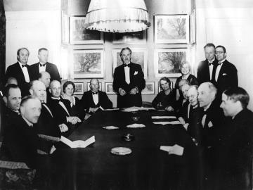 Billede fra jubilæumsdagen d.21.april 1936 hos foreningens kontor i Sølvgade, København