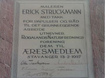 Diplom fra den norske Rogalands Naturfredningsforening, som udnævner DN's mangeårige formand Erick Struckmann til æresmedlem