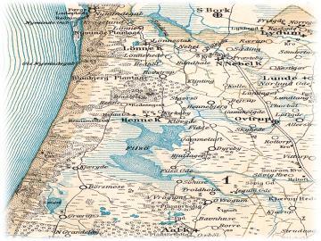 Kort over Filsø i slutningen af 1800-tallet, efter den første afvanding