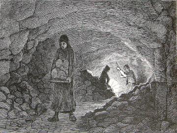 Kove i Daugbjerg Kalkgrube, tegning af Hans Smidth i slutningen af 1800-tallet